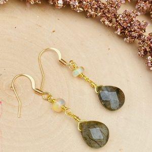 Labradorite & Opal Gemstone Gold Dangle Earrings